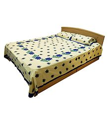 Blue Dot and Floral Print on Light Yellow Cotton Double Bedspread with 2 Pillow Covers