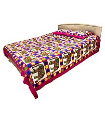 Multicolor Cotton Double Bedspread with 2 Pillow Covers