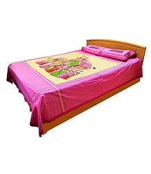 Rajput Women Procession Print on Cotton Double Bedspread with 2 Pillow Covers