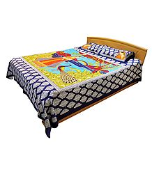 Rajput Princess with Peacock Print on Cotton Double Bedspread with 2 Pillow Covers