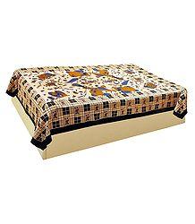Printed Beige Cotton Single Bedspread