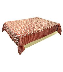 Gorgeous Brick Red Weaved Design on Cotton Double Bedspread