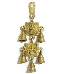Two Tier Hanging Bells with Lakshmi and Ganesh