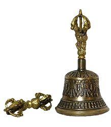 Buddhist Bell and Dorje - Brass Sculpture