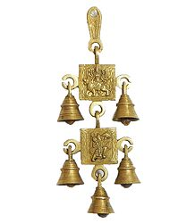 Hanging Bell with Durga and Hanuman - Wall Hanging