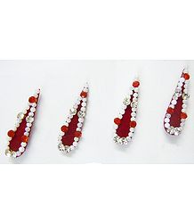 White Stone Studded Maroon Bindis