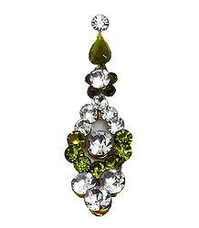 Designer Long Bindi with White and Green Stone