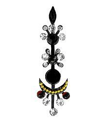 Black with White Stone Designer Bindi