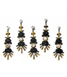 Black Stone Studded Long Bindis