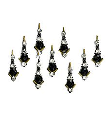 Black Bindis with White Stones