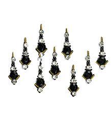 Black Bindis with White Stones