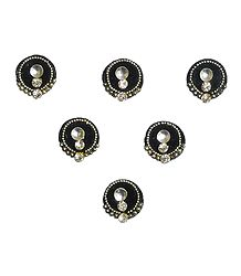 White Stone Studded Black Round Bindi