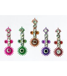 White Stone Studded Multicolor Long Bindis