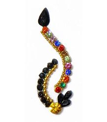 Multicolor with Black Stone Studded Designer Bindi