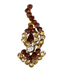 Brown and Yellow Stone Studded Long Bindi