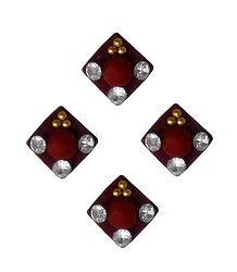 4 Maroon Square Felt Bindis with White Stones