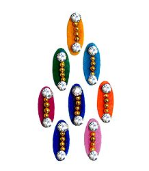 8 Multicolor Felt Bindis with White Stone