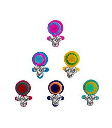 6 Multicolor Felt Bindis with White Stone