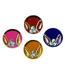 White Stone Studded Multicolor Round Bindis
