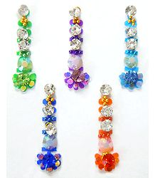 Long Bindis with Multicolor and White Stone