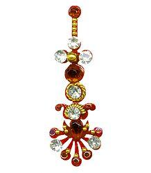 Red and White Stone Studded Designer Bindi