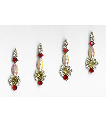 Off-White and Maroon Stone Studded Long Bindis