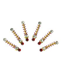 Maroon with White Stone Long Bindis