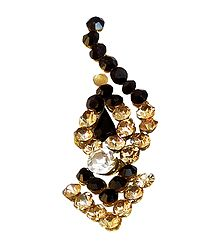 Black and Yellow Stone Studded Long Bindi