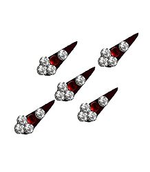 5 Maroon with White Stone Bindis