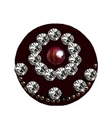 Round Maroon Bindi with White Stone