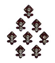 8 Maroon Felt Bindis with White Stone