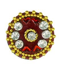Single Maroon with White Stone Round Bindi