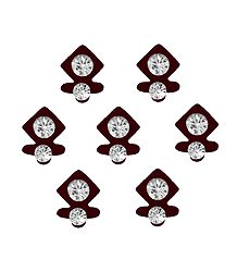 7 Maroon Felt Bindis with White Stone
