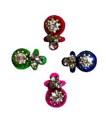 4 Multicolor Bindis with White Stone