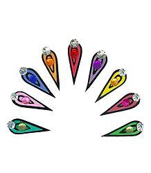 Multicolor Teardrop Long Bindis