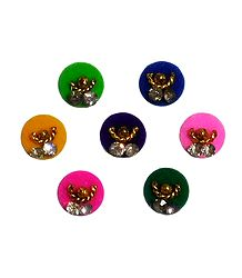 7 Multicolor Felt Round Bindis