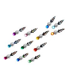 12 Long Bindis with Multicolor Stone