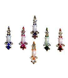 6 Colorful Bindis with White Stone