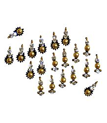 20 Golden Bindis with White Stone