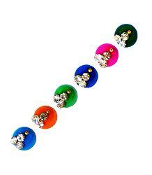 6 Multicolor Round Stone Bindis