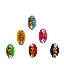6 Multicolor Oval Shaped Felt Bindis with White Stones