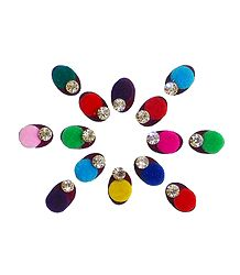 14 Multicolor Oval Bindis with White Stone