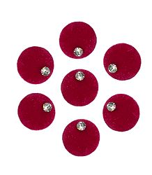 7 Red Round Felt Bindis with White Stone