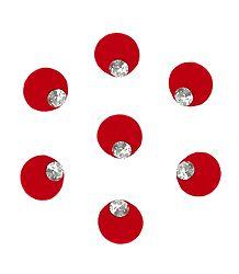 Red Round Bindis with White Stone
