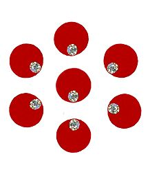 7 Red Felt Round Bindiswith White Stone