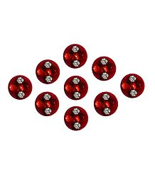 9 Red Round Bindis with White Stone