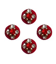 4 Red Round Bindis with White Stone