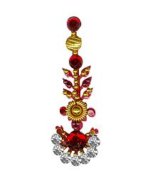 Red with White Stone Long Bindi