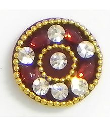 White and Red Stone Studded Maroon Round Bindi