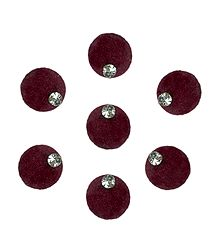 Maroon Round Felt Bindis with White Stone